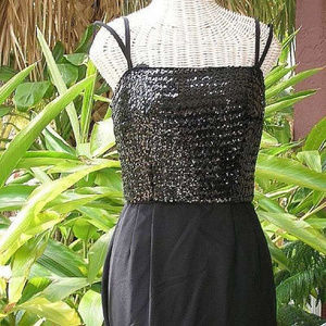 Vintage 50s Sequined Evening Gown Bombshell Dress